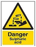 vsafety 6a038an-r'peligro ácido sulfúrico' ADVERTENCIA sustancia y químicos señal, plástico rígido, vertical, 150mm x 200mm), color negro/amarillo