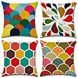 Aipark 4 Pcs 45 x 45 cm Géométrique Taies d'Oreillers Décoratives Housses de Coussin Coloré en Coton et Lin pour Canapés Lits Chaises Chambres