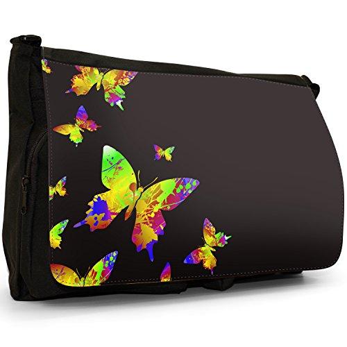 Arcobaleno farfalle con schizzi di vernice–Borsa Tracolla Tela Nera Grande Scuola/Borsa Per Laptop Yellow Rainbow Splash Butterflies