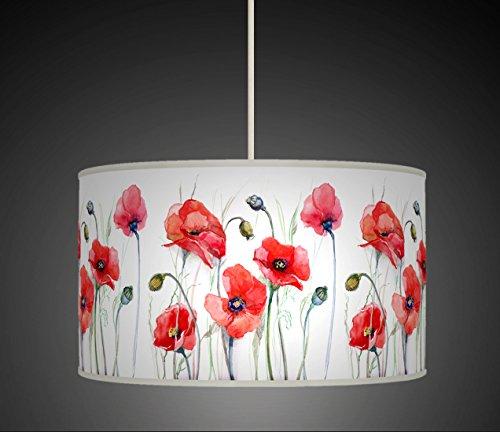 60cm (61cm) rot Aquarell Poppy Blumen schwarz handgefertigt Giclée-Style bedruckter Stoff Lampe Drum Lampenschirm Floor Deckenleuchte Pendelleuchte Schatten 606 (Rot Lampenschirm Drum)