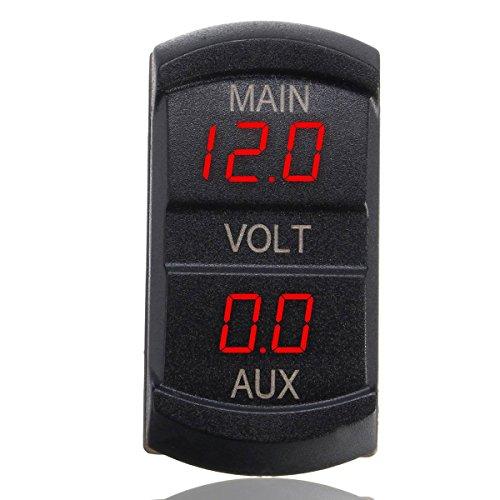 ukcoco LED Digital Voltmeter Dual, 10-60V Main Aux Car Voltmeter Voltage Gauge Battery Monitor Panel für Car Marine Boat Motorrad ATV UTV Camper Caravan (Marine Battery Monitor)