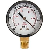 Zerone Manometro Agua, TS50-1+1 Manometro Presion -30 a 0 Bar Manómetro de Vacío1/4 NPT Tubería Rosca
