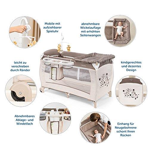 Imagen para HAUCK – Cuna de viaje para bebé BabyCenter Zoo – Incluye elevador para recién nacidos, cambiador, movil musical, cesta portapañales, ruedas, colchón, bolsa de transporte