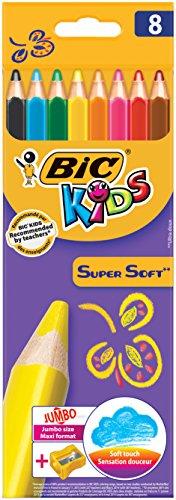 BiC Kids Supersoft – Caja de lápices de colores con sacapuntas (8 unidades)