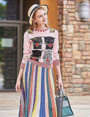 Xuanku BLUEOXY Women's Casual/Daily Work Regular Pullover,Print Round Neck 3/4 Length Sleeves Wool Acrylic Fall Winter Medium Micro-elastic