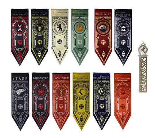 Kostüm Thrones Of Game Tyrell - GTHRONEBAR [45X150CM] 12PCS Garten Flag Flagge, Party Banner Dekorationen Zubehör für for Game Spiel Bar, Throne Thron Schulsport-Event, International Festival Celebration