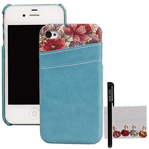 xhorizon®Neuf Luxe Multiple-CouleurCarte de Crédit Retour Holder Coque Housse Etui Case Cover en Cuir pour iPhone 4 /4S Clair Bleu