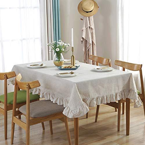 Vlunt Nappes Rectangulaires Carrees Anti Taches, Fete Festives Nappes de Table en Lin Tissu Volants - G:120 * 120CM