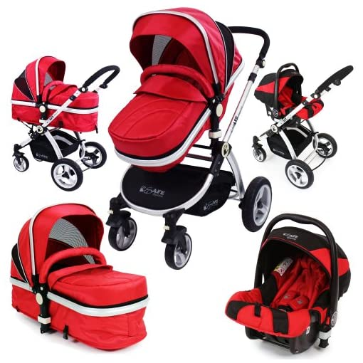 i-Safe System – Red Trio Travel System Pram & Luxury Stroller 3 in 1 Complete With Car Seat 51nVrCqWoFL