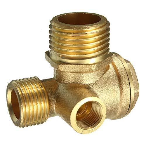 Brass 3 Port Central Pneumatic Air Compressor Check Valve 44×44×30mm -