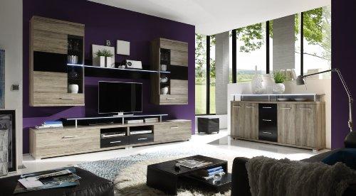 Wohnwand mit Highboard San Remo Eiche/ schwarz