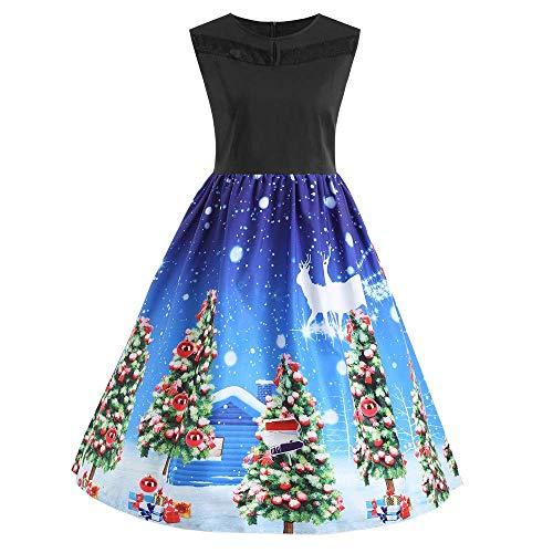 48-FEITENGDAYE Kleider Womens Party Dress Damen Damen Casual Sleeveless Christmas Print Vintage Flare Party Kleid Kostüm Weihnachten A-Line Abendkleid Abendkleid Knielanges Kleid