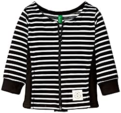 United Colors of Benetton Baby Girls Jacket (15A3ABCH12S4I902_Black and White Stripe_0Y)