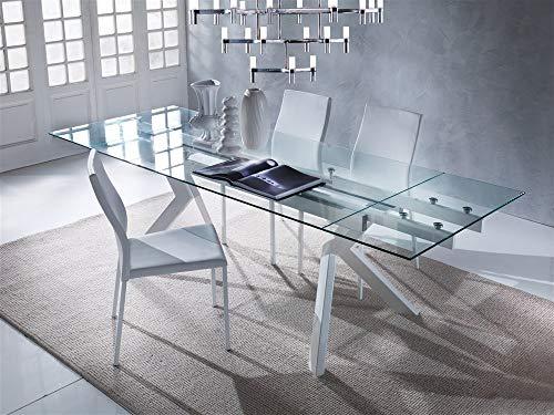 Emporio3 Tavolo da cucina allungabile in vetro Tricorno - SG710, Bianco