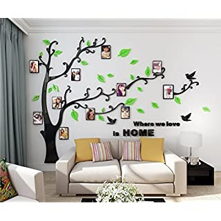 Alicemall 3D Wall Stickers Photo Frames FamilyTree Wall Decal Easy to Install &Apply DIY Photo Gallery Frame Decor Sticker Home Art Decor(Green)