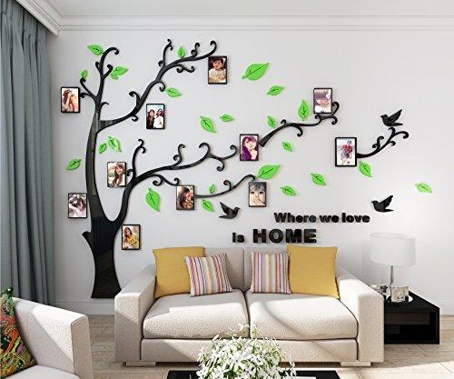 Alicemall adesivo da parete in acrilico rimovibile a forma di albero con rami incurvati e cornici porta foto verdi foglie