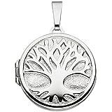 Runder Ketten-Anhänger / Medaillon Baum Lebensbaum Weltenbaum aus 925 Silber anlaufgeschützt für 2 Fotos
