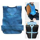 LYY Cinturón para Silla de Ruedas, Cinturón de Seguridad, Chaleco de Seguridad para el Cuidado del Paciente, Silla de protección Resistente a los Golpes, Correa de Cuidado de Ancianos (Azul),Small