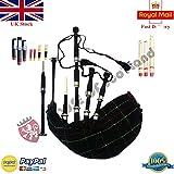 Scottish Great Highland Bagpipes palissandro in argento, supporti con cornamusa tutor libro e accessori