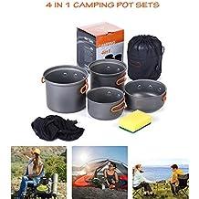 MTK Pote Camping, Pote Antiadherente AleacióN Aluminio Portable Y Sistema Al Aire Libre Ligero CombinacióN