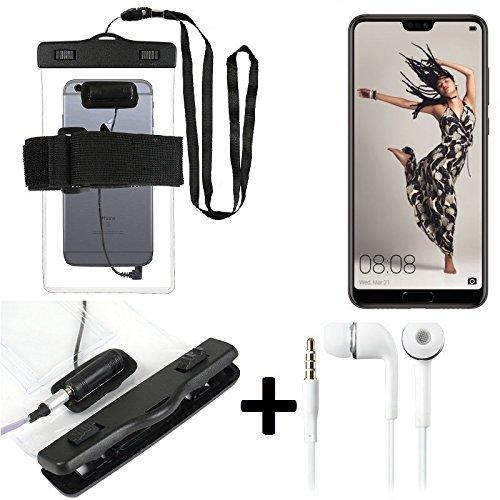 K-S-Trade Für Huawei P20 Pro Single-SIM Wasserdichte Hülle mit Kopfhörereinlass + Headset, transparent Jogging Armband Wasserfeste Handyhülle Beach Bag Outdoor Beutel Schutzhülle Unterwasser case für