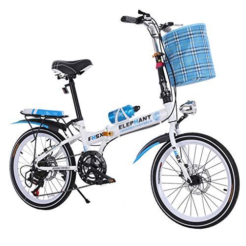 Pocket bikes sportives Vélo Pliant Freins à Disque DE 20 Pouces d'absorption des Chocs Unisexe Ultra-léger Portable Pliant vélo (Color : Blue, Size : 150 * 35 * 110cm)