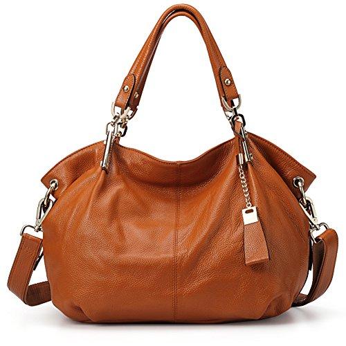 Echtes Leder Handtaschen für Frauen Soft Hobo Taschen Top-Griff Taschen Rindsleder Geschmeidige Totes Umhängetaschen (Braun)