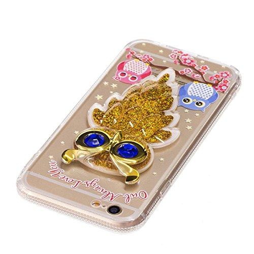 iPhone 6S Bling Hülle, iPhone 6 Glitter Case, Lifetrut [3D Dekorationen] [Flüssigkeit Funkeln] Weiche Transparente Schwimmende Flüssige Glitter Bling Funkeln Case Handyhülle für iPhone 6S 6 [Handtasch E205-Eule