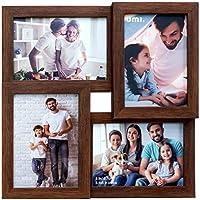 UMI.by Amazon - 4 Bilderrahmen|Vier 9x13 cm (3,5x5 Zoll) großer Holzartiger Fotorahmen|PS Umweltschutz Bilderrahmen|Multi Picture Frame Wanddekoration und Tabletop-Display (Dunkel)