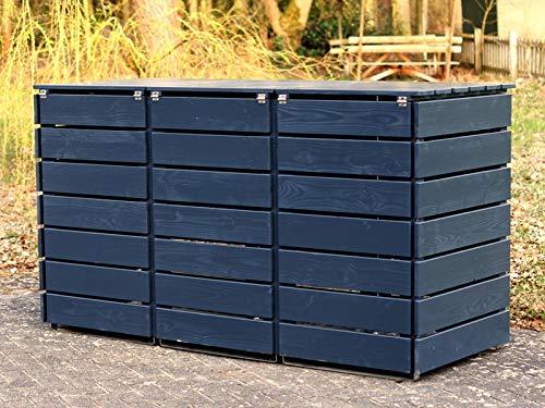 3er Mülltonnenbox / Mülltonnenverkleidung 240 L Holz, Deckend Geölt Anthrazit Grau - 3