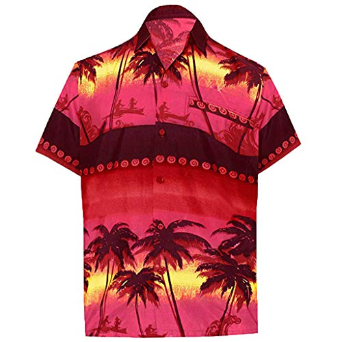 Amoyl Männer Button Hawaii Print Beach Kurzarm gefälschte Tasche Quick Dry Top - Quick Kleiderschrank Kostüm