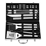 #10: KuanGuang BBQ Tools Set, 19 Pcs Heavy Duty Stainless Steel Barbecue Grill Tools Kit with Gift Box Package, Complete Outdoor Camping Barbecue Grilling Utensils Kit in Portable Aluminum Storage Case