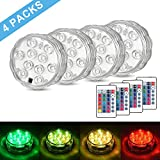 SUNICOL Submersible LED Light, 4 Packs of 10LEDs 16 Changing Colours IP68 Pond Light with Timer Function, Waterproof Diving Light for Pond Pool