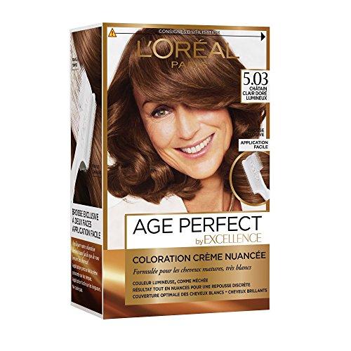 L'Oréal Paris Excellence Age Perfect Coloration Permanente pour Cheveux Mâtures/Très Blancs 5,03 Châtain Clair Doré Lumineux