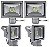 Leetop 4X Interior y Exterior 30W LED Focos Blanco Frio con Sensor de Movimiento,con Fijación Colgar y Kit de Tornillos,Waterproof IP65