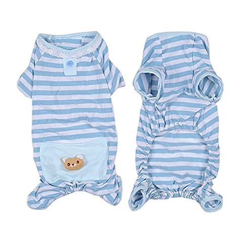 Hunde/Katze Pyjamas, Weich & Warm Haustier Schlafanzug Jacken/Sweatshirt/Pullover für Kleine und Mittelgroße Hunde - 2 Farbe und 4 vorhandene Größe(Blau, XL)