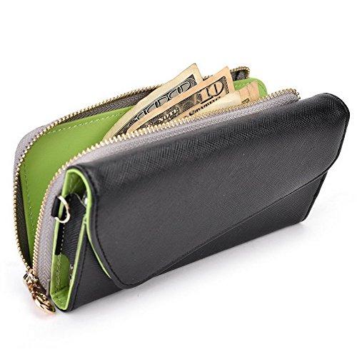 Kroo d'embrayage portefeuille avec dragonne et sangle bandoulière pour LG aka/Magna Multicolore - Black and Violet Multicolore - Noir/gris
