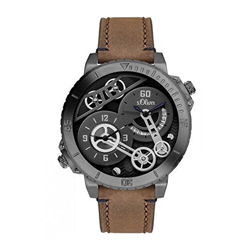 s. Oliver Men's Quartz Watch with Black Dial Analogue Display Quartz One Size Brown