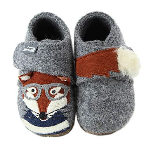 Living Kitzbühel Baby Jungen Babyklett. Fuchs mit Brille Hausschuhe, Grau 610, 25 EU