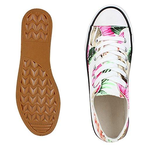 Trendige Unisex Sneakers   Low-Cut Modell   Basic Freizeit Schuhe   Viele Farben   Gr. 36-45 Weiss Flower