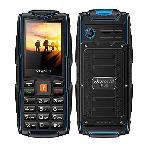 OverDose Vkworld Stone New V3 Handy (2017 Version) Outdoor,2,4 Zoll Display,IP68 Wasserdicht,Staubwiderstand,Zerbrechen Widerstand,(Großer Knopf, Tri sim,Power Bank Port, 2.0MP kamera,Verlängern auf 8GB Speicher) Ohne Vertrag (Blau)