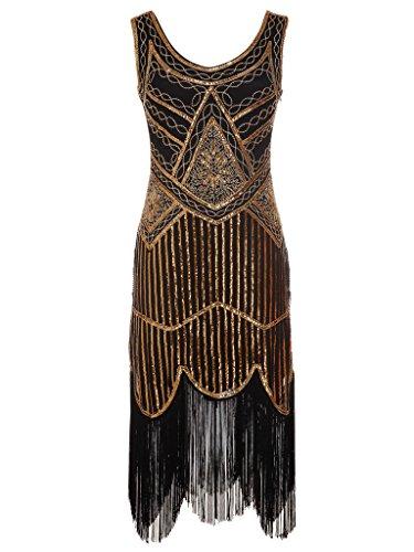illetten Perlen Quasten Falten Gatsby Flapper Kleid D20S001(S,Schwarz) (1920 Frauen Kostüm)