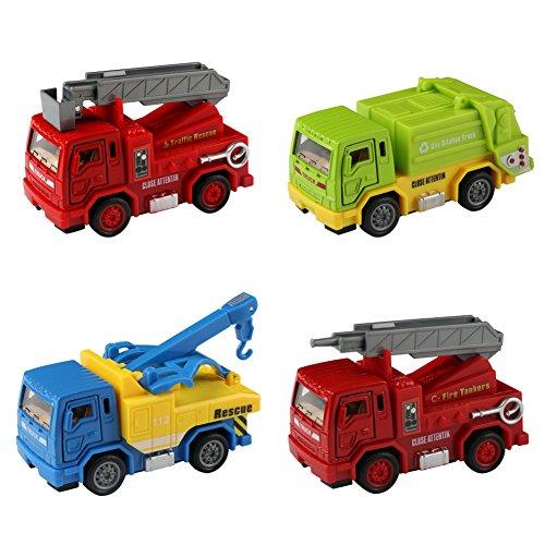 Voiture Miniature Maquette Camion de Pompier Jouet Kit de Vehicule a Friction pour Enfant Garçons Filles 3 Ans et Plus (4 PCS) 0603981389463