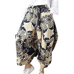 Battercake Mujer Pluderhose Verano Vintage Etnica Estilo Floreadas Pantalones De Linterna Casuales Mujeres Moda Elegantes Anchos Casual Hippie Pantalones Harem Pantalones Globo Pantalones Aladdin