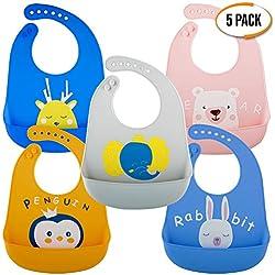 Lot de 5 Bavoirs Souples en Silicone Imperméables, 5 Couleurs - Ajustable, Confortable et Facile à Nettoyer - sans BPA - Bavoir Bébé Étanche avec Récupérateur pour Sevrage| Bébés, Enfants