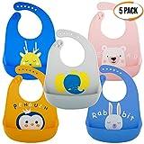 5er Pack Wasserdichte Silikon Baby Lätzchen in 5 Farben - Tief Auffangschale, Weiches, Verstellbare, Leicht zu Reinigen - BPA Frei, Spülmaschinenfest - für Entwöhnen  Weihnachten Babyparty Geschenk