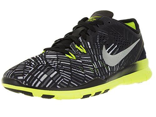 Nike Wmns Nke Free 5.0 Tr Fit 5 Prt, Baskets Basses Femme Noir - Negro (Black / Metallic Silver-Volt)
