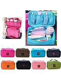Prexea Women Mack-Up Bra Underwear Organizer Bag Slide Portable Cosmetic Makeup Lingerie Toiletry Travel Bag With... - B0755P7V35