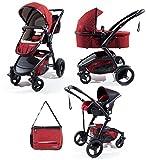 Trio completo: passeggino, navicella, ovetto e borsa coordinati in tre colori - per bambini dalla nascita (rosso)