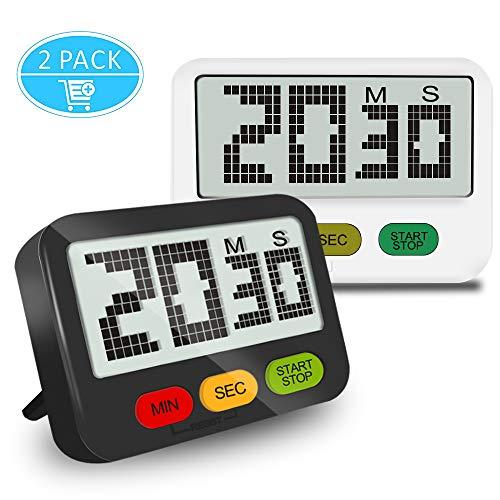 ANOLE Digital Küche Timer Magnetischer Küchentimer Magnet Küchenwecker Küchenuhr Küchen Zeitmesser mit Countdown,Count UP,Lauter Piepser für Kochen,Backen,Yoga,Studieren und anderen Verwendungszweck -
